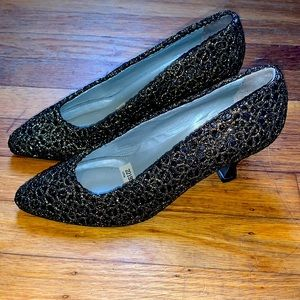 Phyllis Poland Black and Gold embroidered heels